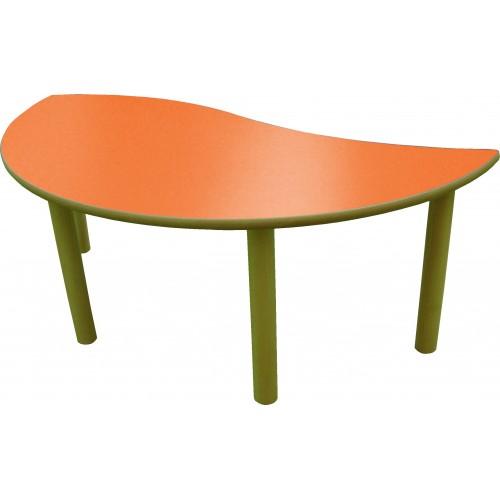Mesa semirredonda ONDA (naranja) madera