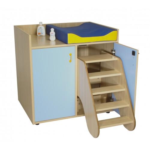 Mueble cambiador con escalera giratoria (2 puertas)