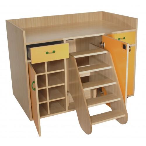 Mueble cambiador con escalera giratoria (3 puertas)