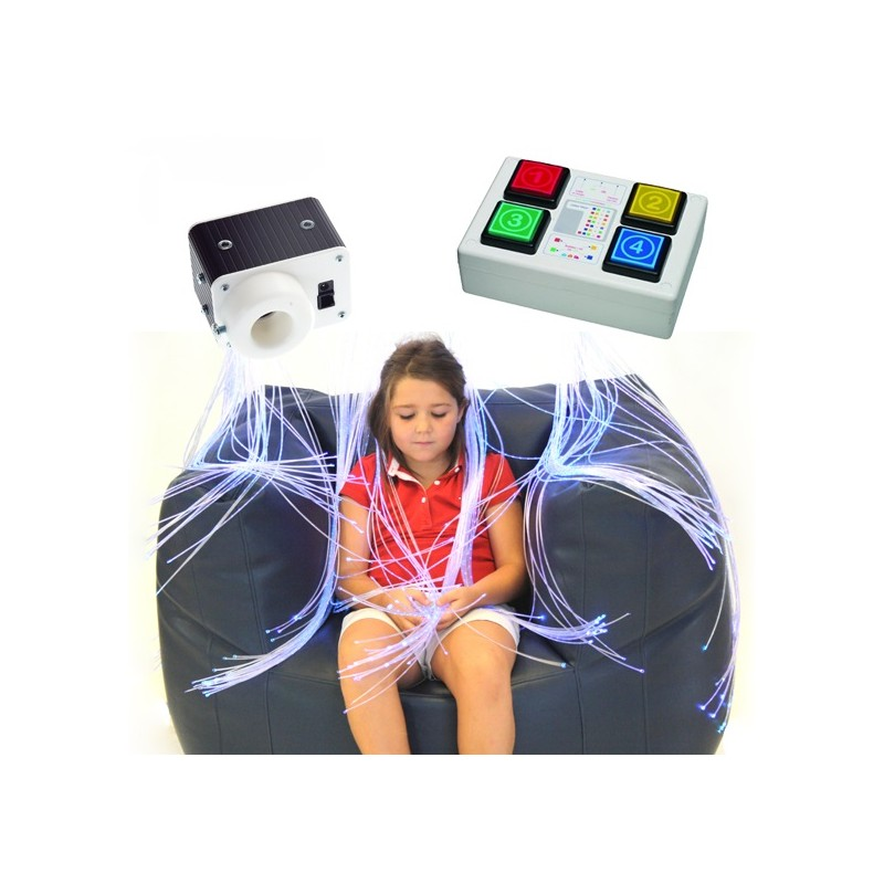 Fuente de luz interactiva con mando, Fibras ópticas,sala