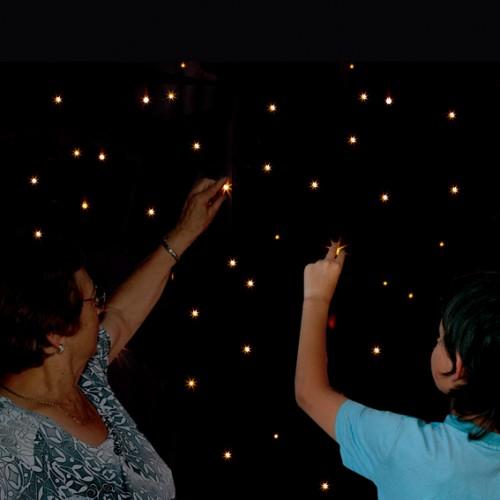 Cortina/Alfombra de estrellas, Fibras ópticas,sala