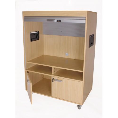 Mueble televisión y video bajo con persiana-1